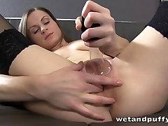 Pussy pump fun for pretty brunette babe Xara