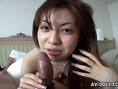 Asian tramp sucking hard on the 18 age grls dick real pro