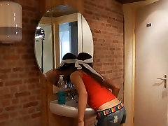 Oldman nails young cleaning lady in the men&039;s restroom