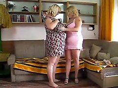 Plumper MILF lesbians toying and playing