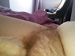 rub my uncut cock, rub her hairy pussy, foot job on her clit