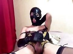 Japan Crossdresser in Latex Mask Strokin