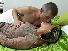 Old but still hot granny takes young cock