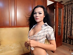 Asian shemale Rose get her Asian shemale ass fucked