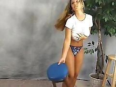 Big finland fran girl wet T shirt braless bouncing