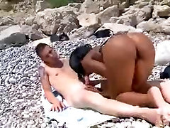 Ebony Fuck on Spanish Beach