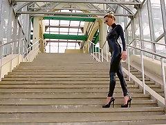 beautiful in black catsuit