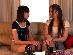 Japanese lesbian babes in stockings toy fun