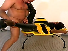 Black Teen dressed in bee gets fucked by an angel rivas after the party man