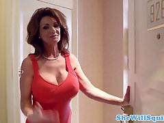 double pentraion busty squirter with an old shaved pussy