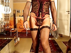 Crossdresser with stockings and high heels