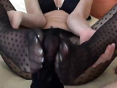 Cumshot Into Stocking Pantyhose Footjob