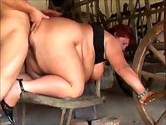 Mature SSBBW bdsm orgasm convulsion in the barn