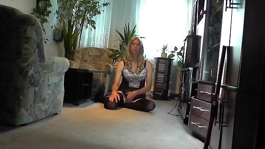 Crossdresser Posing in Underwear