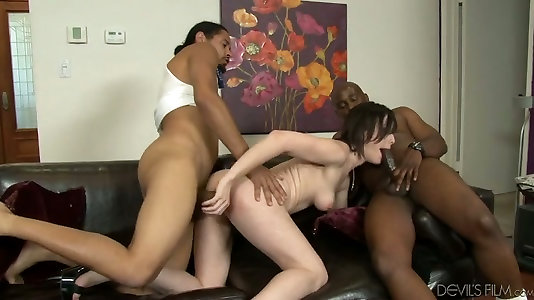 Three insane dark-hued boys pound scanty milky ass tramp in hardcore gang-fuck movie