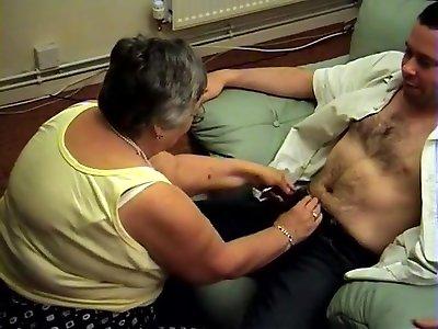 Tramp Grandma Feetjob