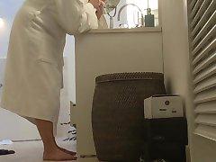 voyeur busty holiday MILF bathroom hidden cam