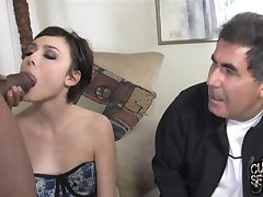 Young wife feeds old cuckold with a spoon of black cum