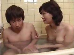 Japanese mom joint not her son in bath
