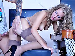Stocking-addicted stud nails his sexy girlfriend right in the billiard room