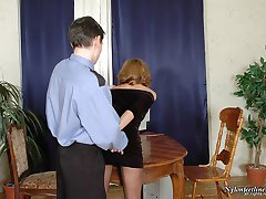 Hot policeman is obsessed with temptation to suck babe�s feet clad in nylon