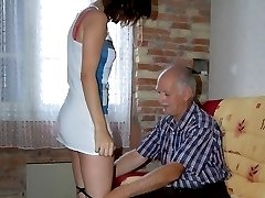 Dirty slut in stockings and short skirt gets her firm ripe ass blistered