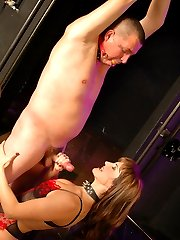 Mistress punishes her slaves cock, then makes him cum and lick the sticky jizm off her tits