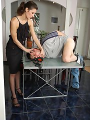 Naughty chick strap-on fucking eager guy from both his ends right on table