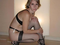 Slutty wife flashes breasts while posing