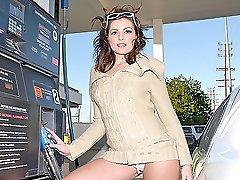 Hot brunette gets her fat camel toe hammered in cow girl
