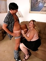 Blonde bbw Deedra slobbering a meaty stick before humping on top of it with her fat pussy