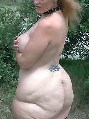 Chubby big butt girls naked together outside