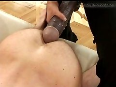 Merciless domina rams a humongous rubber pole into adventurous boys butt