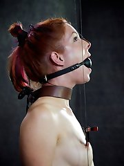 Kneeling, blindfolded and gagged with a headgear that affixes her head to a post, Calico is a...