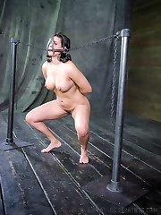 She is struggling to remain free but the way the rope around her neck connects to the pulley,...