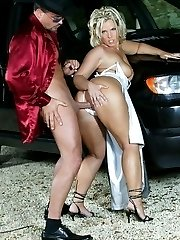 Blonde fucked by car