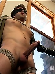 Straight stud Wolf is brand new to KinkMen.  He\'s let his girlfriend handcuff him before but he\'s never been in full bondage.  Wolf is very nervous about letting a couple of guys stroking his cock. Before the edging can begin, we tie his hands behind his back and blindfold his eyes so he can focus on every sensation.  It doesn\'t take this stud long before his big hard cock is bulging out of his underwear.  Edging Wolf\'s cock is like walking in a mine field, you just never know when he\'s about to blow.  We give him a taste of the flogger before he\'s suspended in the air with his giant cock hanging down.  Tied down to the bed, we milk a load out of Wolf\'s throbbing cock before giving him some post orgasmic torment.  Covered in his own cum, we finish him off by tickling the hell out of him till he screams for mercy.