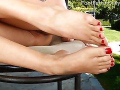 Saya Song wants to go hiking but her shoes always hurt her feet. Her man is more than happy to make her feel a little better. Her perfect little pussy makes his cock hard and she strokes it was her toes. That perfect footjob leads to him filling her holes with his cock. She can't wait to have his load all over her feet.