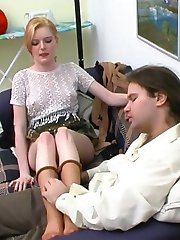Freaky couple playing with a heap of tights inventing new pantyhose games