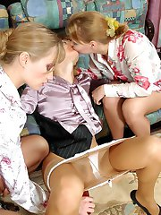 Voluptuous chicks savoring pantyhose group sex in all possible positions