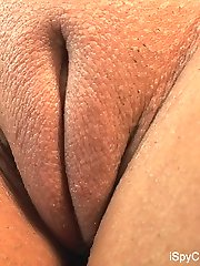Shaved pussy blonde hottie shows off moist camel toe