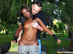 Amazing mega black booty ass gets fucked in the park in these hot outydoor fucking cumfaced mega...
