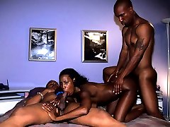 Foxy black beauty Lady Armani going extreme getting double penetrated inside her bedroom