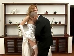 Awesome t-girl bride and her hubby end up trying anal sex with hot kisses