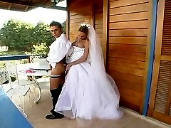 Outdoor ass-screwing amusement with sex-addicted shemale bride and groom