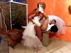 Hot tranny bride celebrating her fianc233 with stiff dip stick in her panties