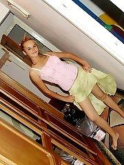 Brunette upskirt girl posing