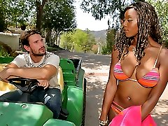 Smokin hot ebony big tits erika gets nailed hard by the pool in these sexy bikini fuck vids