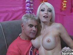 Rikki Six Big Boob Blonde Bimbo Squirts and Sucks Cock