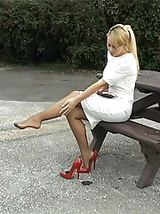 Larissa has been stimulating men at this site in their fetish for nearly five years with her perfect legs, figure and looks! She is most beautiful when in high heels, so if you don't feel anything when you see her in this video then you must watch it again and let her sex up your fetish